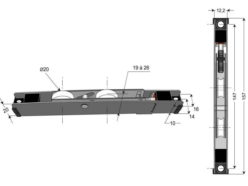 Roulette Roto pour baie vitre coulissante Rf 622876